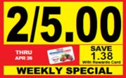 Woods Supermarket Weekly Savings Tag