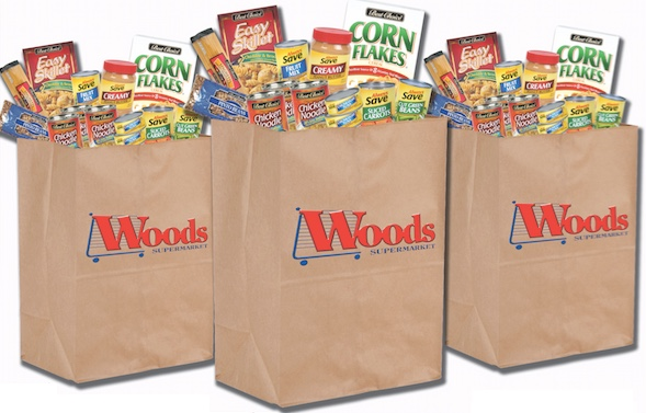woods grocery bags with donated items